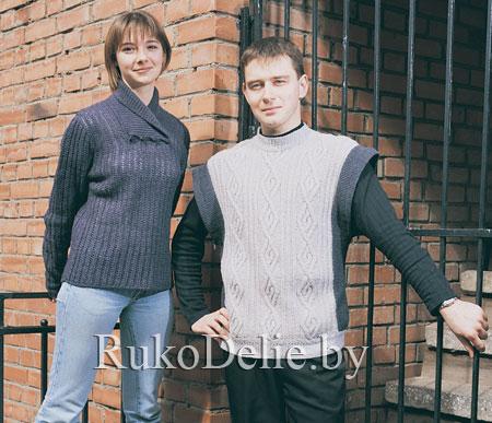 мужской пуловер-жилет на спицах