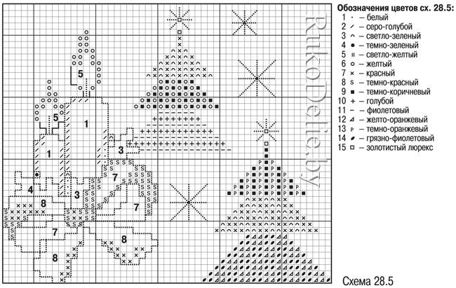 схема мини-вышивки крестом с