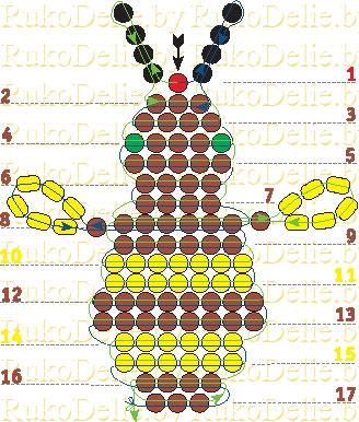 схема плетения пчёлки из бисера.