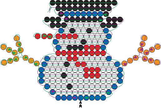 схема плетения снеговика