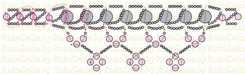 Плетения колье из цитрина и бисера
