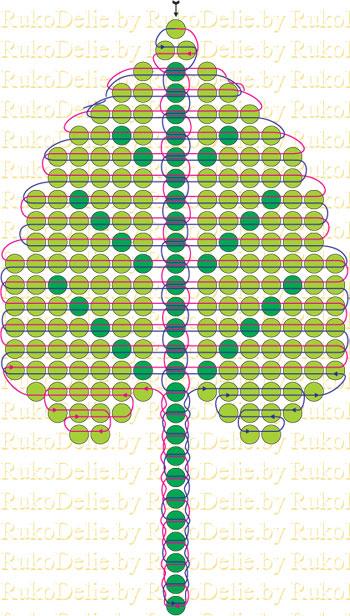 схема плетения листика для