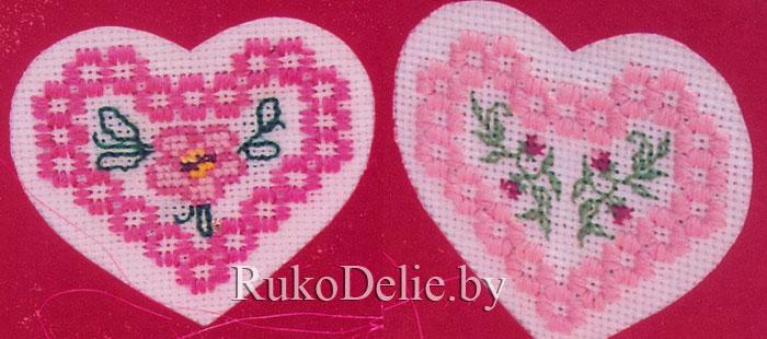 фото вышивки сердечка в стиле хардангер крупнее