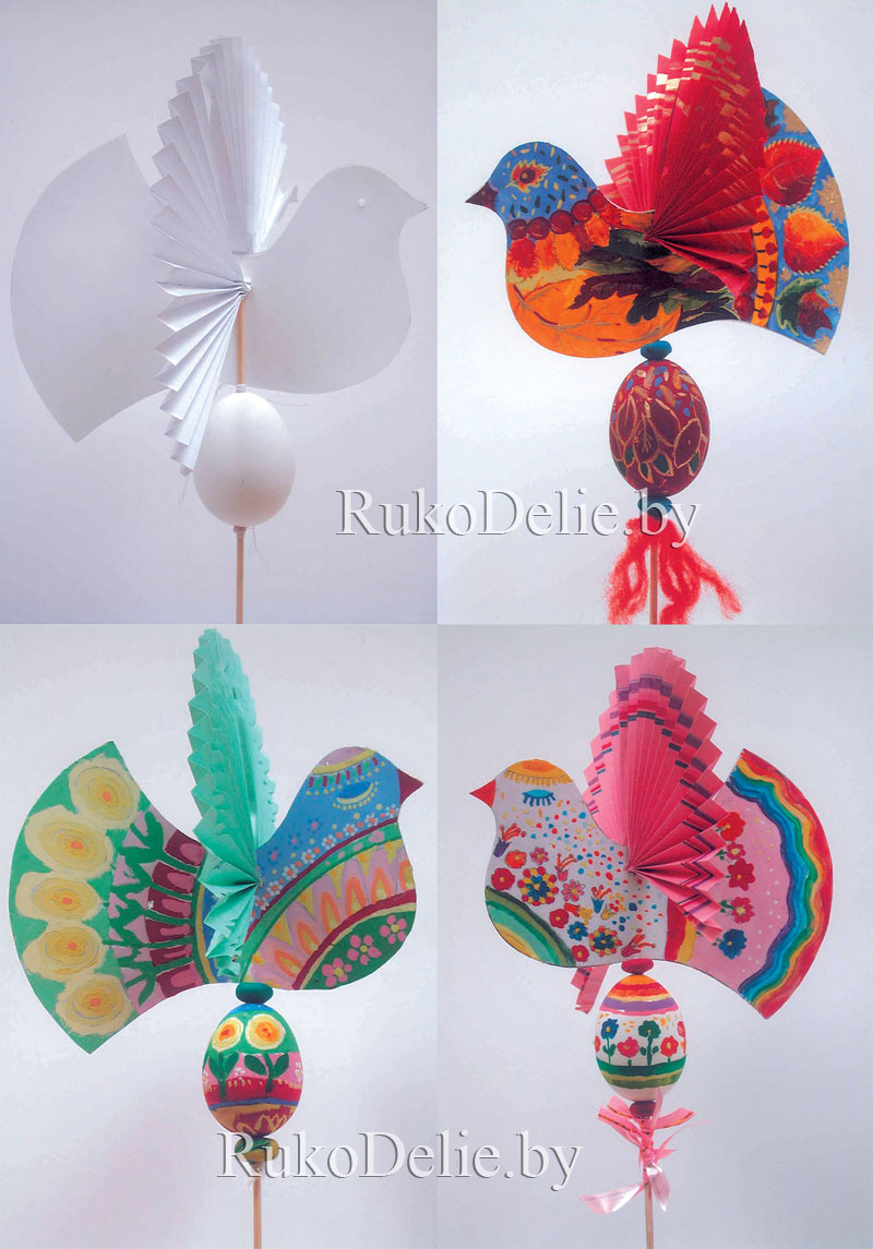 пасхальные птички из бумаги на шпажках