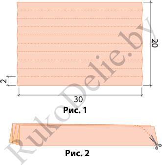 схема разметки гармошки для изготовления туловища и хвоста пасхальной птички