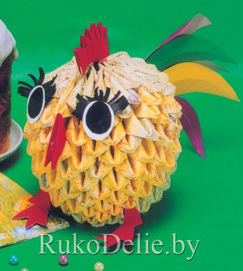 цыплёнок из бумажных треугольных модулей