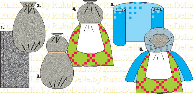 схема выполнения куклы крупенички или зерновушки
