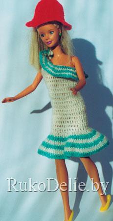 Бело-голубой вязаный сарафан для Барби