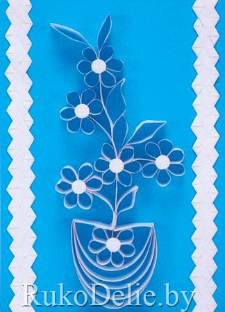 панно с цветочками в технике квиллинг