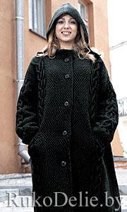 Пальто с капюшоном, вязаное спицами