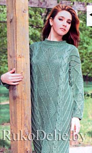 Платья вязаное спицами с длинным рукавом