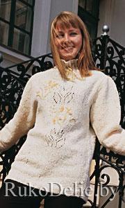 вязаный спицами свитер с вышивкой свитеры женская одежда