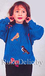 Пуловер детский, связанный спицами