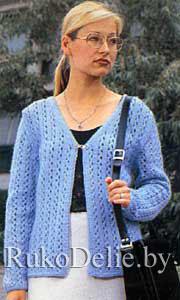 Связанный на спицах ажурный женский жакет