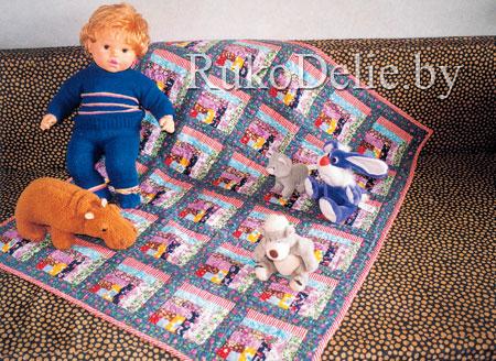 Детское одеяло из пестрых лоскутков