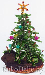 Новогодняя елочка, сплетенная из бисера