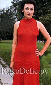 Красное платье, связанное на машине