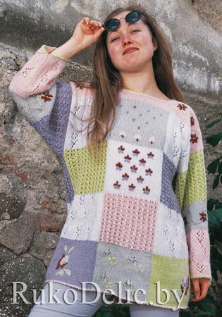 """Женский пуловер в стиле  """"пэчворк"""", вязаный спицами"""