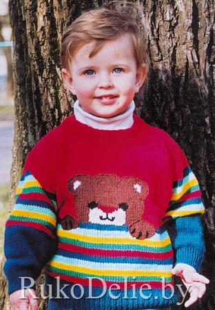 Детский пуловер с рисунком, вязаный спицами