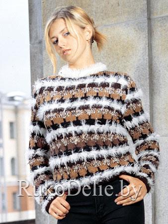 Многоцветный пуловер, вязаный