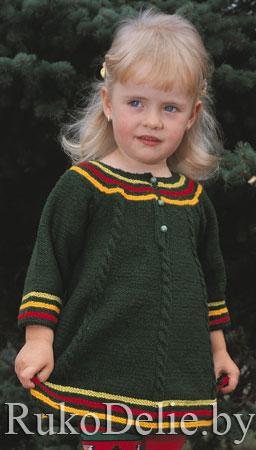 Детское платье, вязаное спицами
