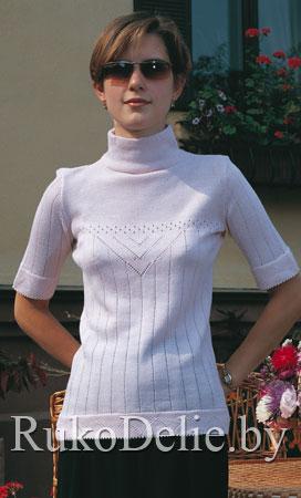 Пуловер-гольф с ажурными