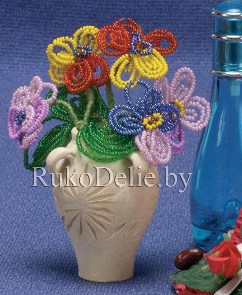 Фиалки из бисера своими руками схемы плетения фото 596
