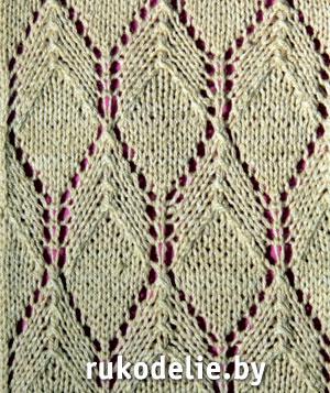 вязание ажурных ромбов спицами узоры схемы